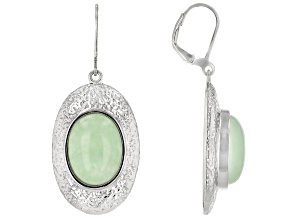 Jadeite Rhodium Over Sterling Silver Textured Earrings