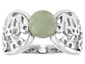 Jadeite Rhodium Over Sterling Silver Flower Silhouette Ring