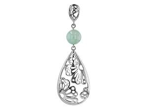 Green Jadeite Rhodium Over Sterling Silver Flower Silhouette Pendant
