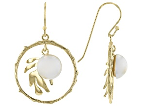 Cultured Mabe Pearl 18K Yellow Gold Over Sterling Silver Palm Leaf Design Earrings