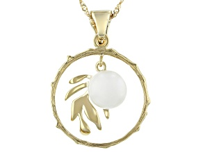 Cultured Mabe Pearl 18K Yellow Gold Over Sterling Silver Palm Leaf Design Enhancer With Chain