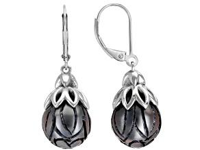Black CulturedTahitian Pearl Rhodium Over Sterling Silver Earrings