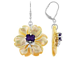 Yellow Mother-of-Pearl, Amethyst & White Zircon Rhodium Over Sterling Silver Flower Earrings 1.94ctw