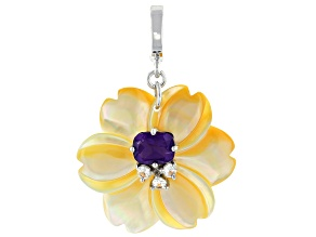 Mother-of-Pearl With Amethyst & White Zircon Rhodium Over Sterling Silver Flower Enhancer 2.18ctw