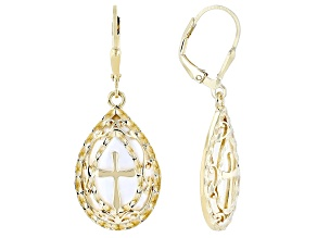 Mother-of-Pearl 18K Yellow Gold Over Sterling Silver Cross Earrings