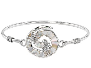 Mother-of-Pearl Rhodium Over Silver Swirl Design With Dragonfly & Flower Bracelet