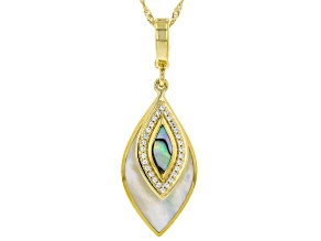 "Mother-of-Pearl, Abalone Shell &  Zircon 18K Yellow Gold Over Silver Enhancer With 18"" Chain 0.27ctw"