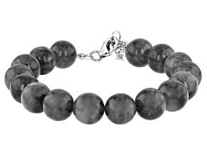 Gray Jadeite Rhodium Over Sterling Silver Beaded Bracelet