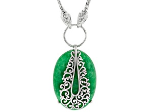 Jadeite Sterling Silver Filigree Overlay Necklace