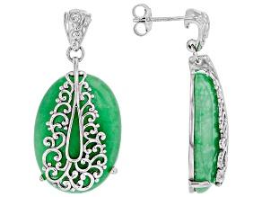 Jadeite Sterling Silver Filigree Overlay Earrings