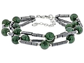 Jadeite & Hematine Sterling Silver Multi-Row Bracelet