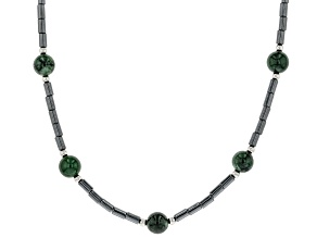 Jadeite & Hematine Sterling Silver Strand Necklace