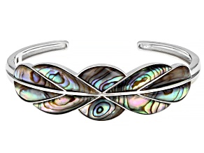 Abalone Shell Rhodium Over Sterling Silver Cuff