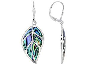 Abalone Shell Rhodium Over Sterling Silver Leaf Earrings