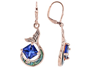 Lab Created Spinel & Abalone Shell 18k Rose Gold Over Silver Earrings 4.37ctw