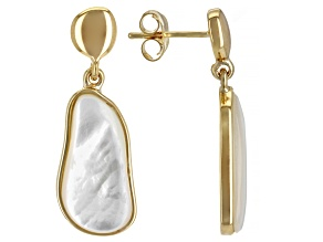Mother-Of-Pearl 18k Yellow Gold Over Sterling Silver Earrings