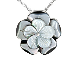 "Mother-Of-Pearl Sterling Silver Flower Pendant With 18"" Chain"