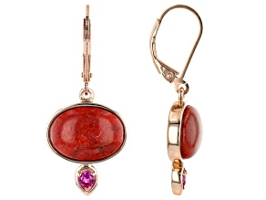 Coral & Lab Created Ruby 18k Rose Gold Over Sterling Silver Earrings 0.26ctw