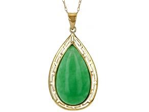 "Green Jadeite 10k Yellow Gold Greek Key Design Pendant With 18"" chain"