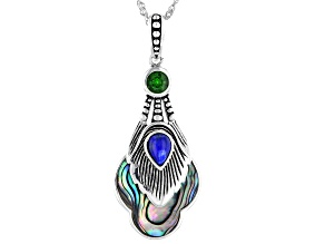 Abalone Shell, Lapis Lazuli, & Chrome Diopside Silver Peacock Feather Enhancer With Chain 0.66ct