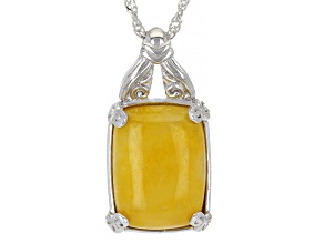 """Yellow Jadeite Rhodium Over Sterling Silver Pendant With 18"""" Chain"""