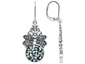 Mosaic Abalone Shell Sterling Silver Dragonflies Earrings