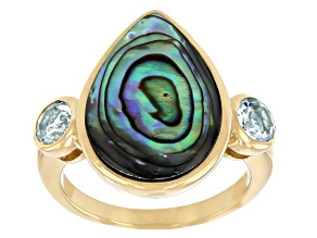 Multi Color Abalone Shell & Sky Blue Topaz 18K Yellow Gold Over Silver Ring 0.77ctw