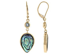 Multi Color Abalone Shell & Sky Blue Topaz 18K Yellow Gold Over Sterling Silver Earrings 0.37ctw