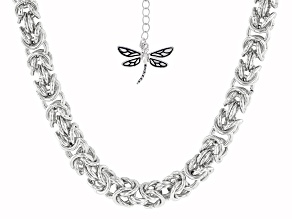 Rhodium Over Brass Byzantine Chain With Dragonfly Charm Necklace