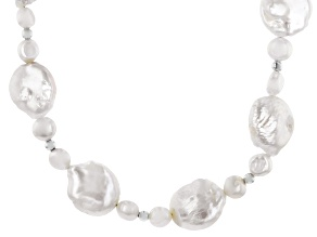 Freshwater Pearl Rhodium Over Silver Necklace