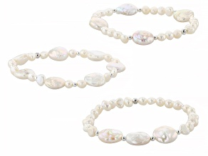 Cultured Freshwater Pearl Rhodium Over Silver Set of 3 Stretch Bracelets