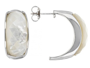 Mother-Of-Pearl Rhodium Over Sterling Silver Earrings