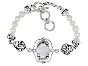 Mother-of-Pearl & Cultured Freshwater Pearl Sterling Silver Filigree Design Bracelet
