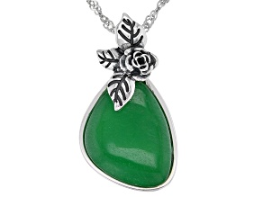 """Jadeite Sterling Silver Floral Pendant With 18"""" Chain"""