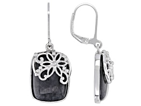 Charcoal Jadeite Sterling Silver Floral Overlay Earrings
