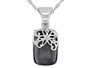 """Charcoal Jadeite Sterling Silver Floral Overlay Pendant With 18"""" Chain"""
