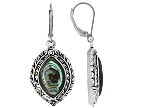 Marquise Abalone Shell Sterling Silver Leaf Earrings