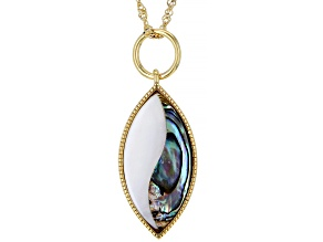 """Abalone Shell & Mother-Of-Pearl 18K Gold Over Silver Pendant With 18"""" Chain"""