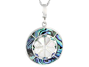 """Mosaic Abalone Shell & Mother-Of-Pearl Rhodium Over Silver Enhancer With 18"""" Chain"""