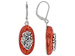 Red Coral Sterling Silver Dragonfly Floral Earrings