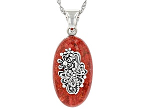 """Red Coral Sterling Silver Dragonfly Pendant With 18"""" Chain"""