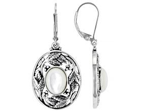 Mother-Of- Pearl Sterling Silver Leaf Design Earrings
