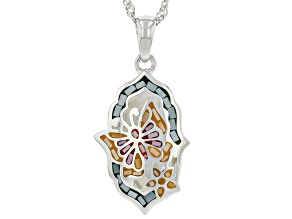"""White Mother-Of-Pearl Sterling Silver Mosaic Butterfly Pendant With 18"""" Chain"""