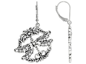 Sterling Silver Dragonfly With Detail Metal Work Earrings