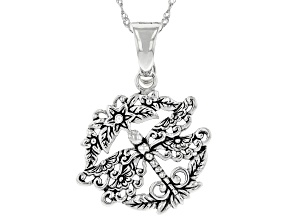 """Sterling Silver Dragonfly With Detail Metal Work Pendant W/ 18"""" Chain"""
