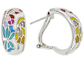 White Zircon With Multi Color Enamel Sterling Silver Earrings 0.14ctw