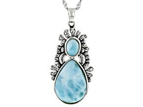 """Larimar Sterling Silver Pendant With 18"""" Chain"""