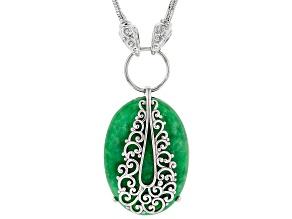Jadeite Sterling Silver Filigree Overlay Necklace