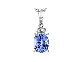 Blue Tanzanite Platinum Pendant With Chain 2.29ctw
