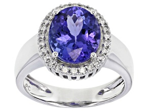 Blue Tanzanite Platinum Ring 3.75ctw